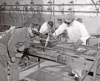 George Bringhurst operating automatic cutting machine as Alvin Young observes