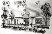 Architectural drawing of the Metals Trades Building, circa 1965