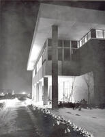 North exterior of the Automotive Trades Building at night, circa 1969