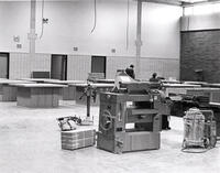 Classroom with machining apparatus in the Construction Trades Building, circa late 1976