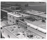 Elevated view of Rampton Technology Building construction, 1972