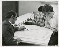 Student and Teacher in Architecture and Design Classroom