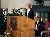 Cathleen Partridge speaking during the Markosian Library dedication ceremony, November 16, 1993