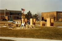 Construction Trades Students Building Furniture in the Quad