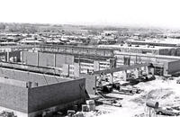 Elevated view of the north side of the Construction Trades Building while under construction, 1976
