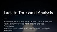 2018 - Lactate Threshold Analysis - Oral Presentation